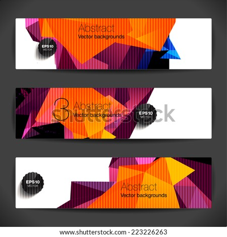 Set of polygonal geometric backgrounds for modern design  - stock vector