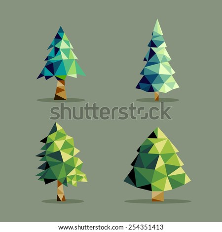 Set of polygonal origami pine tree icon illustration. Ideal for web icon, ecology brochure and botany book cover. EPS10 vector file. - stock vector