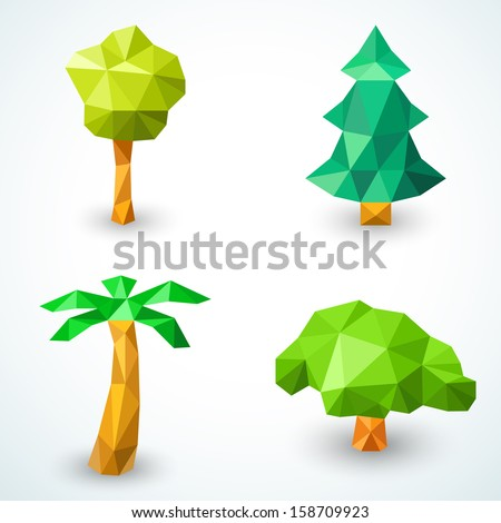 Set of polygonal origami tree icons. Vector illustration for green nature design. Christmas tree, palm, simple tree and bush formed by triangles on white background. Ecological collection . - stock vector