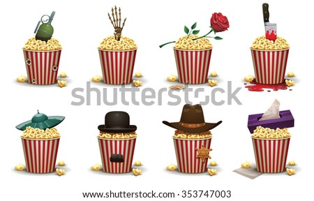 Set of popcorn basket with different elements of type of movies. Vester with cowboy hat and sheriff star. Romantic - rose. Drama - napkin box. Horror - skeleton hand. Sci fi - ufo. ets. Vector. - stock vector