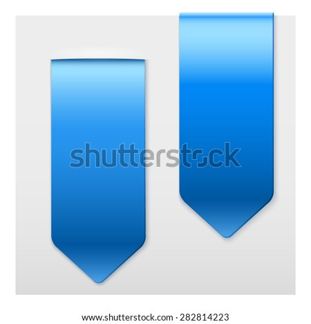 Set of Popular blue ribbons sticker on top. Realistic modern style. Vector Isolated on white background. - stock vector