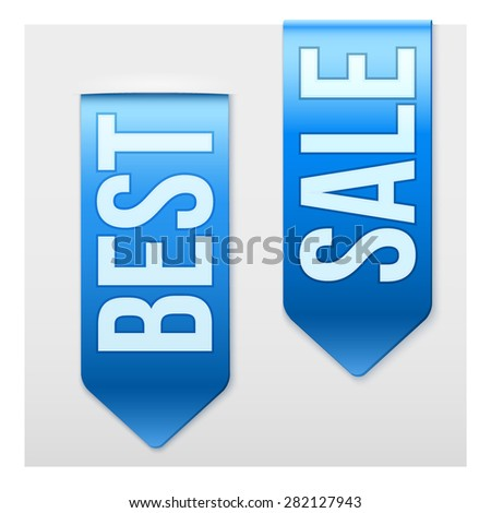 Set of Popular Ribbons BEST and SALE. Realistic modern style. Vector Isolated on white background. - stock vector