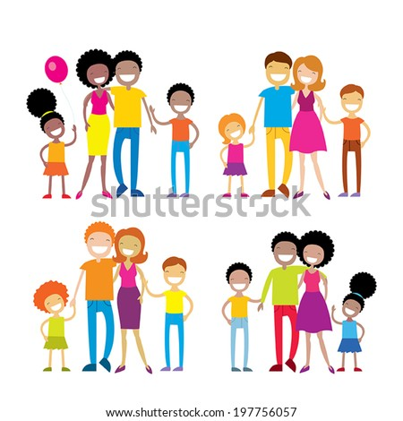 Set of 4 portraits of lovely cartoon family isolated on white background. Vector illustration - stock vector