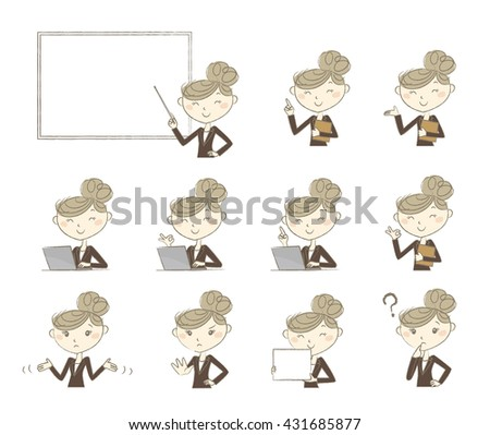 Set of poses and emotions, business women in suit - stock vector