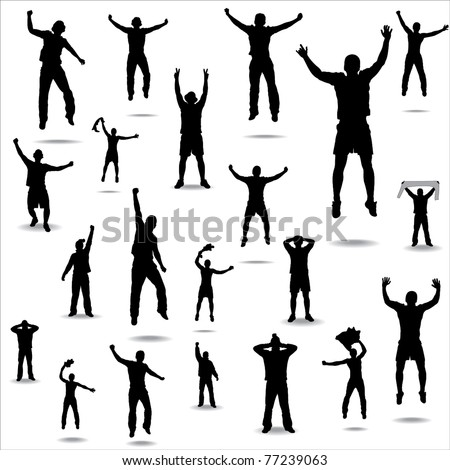 Set of poses from fans for sports championships and music concerts. - stock vector