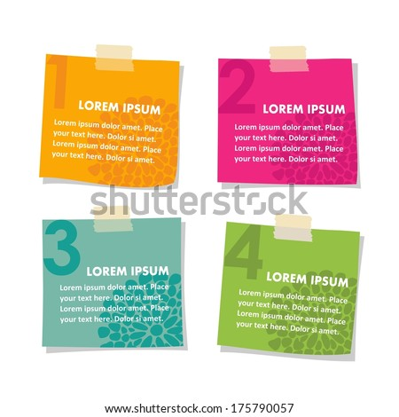 Set of post it stick notes papers, vector illustration isolated on white background  - stock vector
