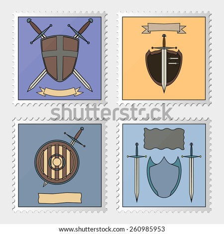 Set of postage stamp with a shield, sword and ribbons. Vector. - stock vector
