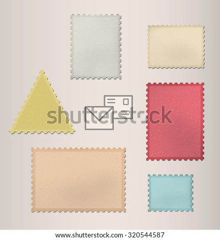 Set of postage stamps. Vector illustration - stock vector