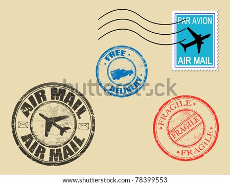 Set of postage symbols, vector illustration - stock vector