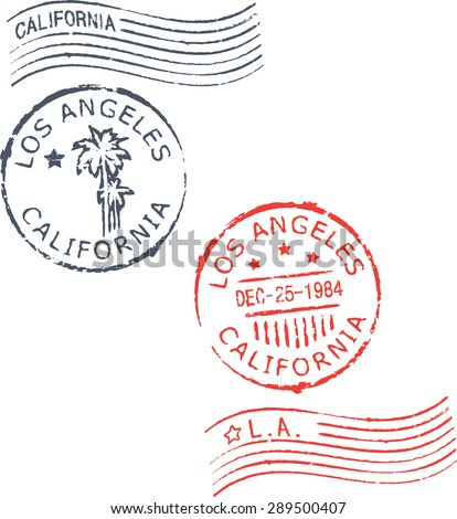 Set of postal grunge stamps 'Los Angeles-California'.Blue and red color. - stock vector