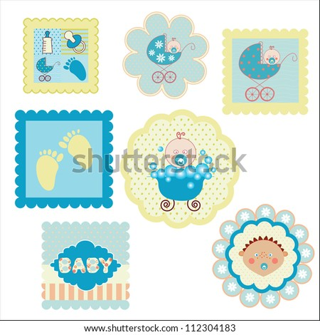 set of postcards, stickers for boys - stock vector