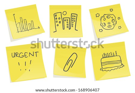 Set of posted notes with various symbols, vector illustration - stock vector
