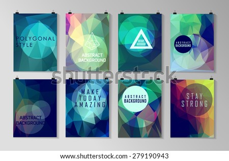 Set of poster, flyer, brochure design templates. Abstract modern polygonal backgrounds.  - stock vector