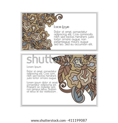Set of posters with doodle paisley for your business. Vector abstract background for invitations, business documents, cards, flyers and placards. Sale brochure.Used clipping mask for easy editing. - stock vector