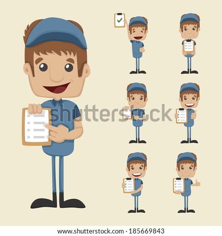 Set of postman , eps10 vector format - stock vector