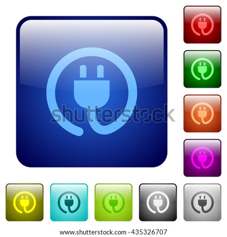 Set of power cord color glass rounded square buttons - stock vector