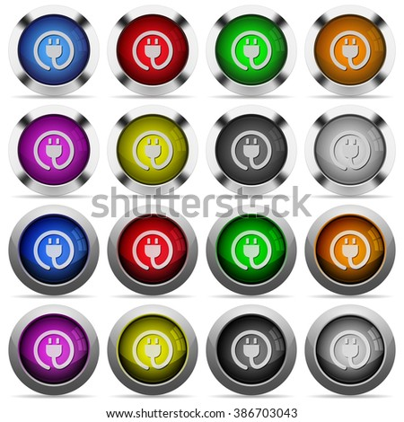 Set of power cord glossy web buttons. Arranged layer structure. - stock vector