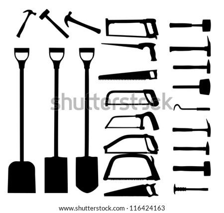 Set of power tools, shovel, drill, hammer. Vector icon - stock vector