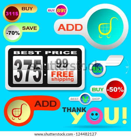 Set of premium icons and buttons for shop and shopping. - stock vector
