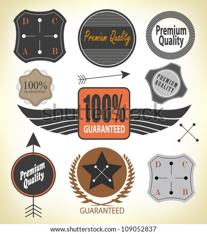 Set of Premium Quality and Guarantee Label with retro vintage styled design, vector - stock vector