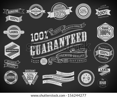 set of Premium Quality, Guarantee and sale Labels  and typography design elements drawing with chalk on blackboard/ vector - stock vector