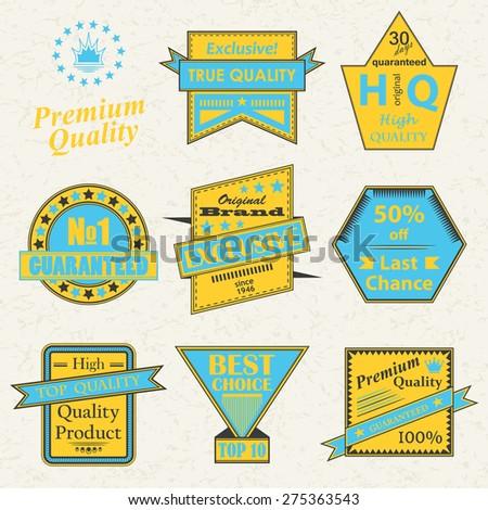 Set of premium quality labels. Vintage Design. Bright colors          - stock vector