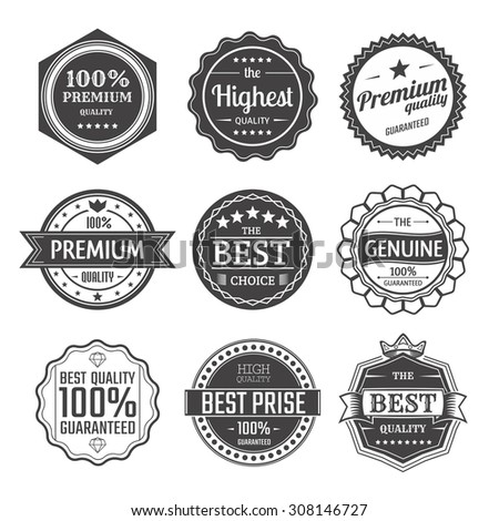 Set of premium quality retro badges and labels. Logo design templates. - stock vector