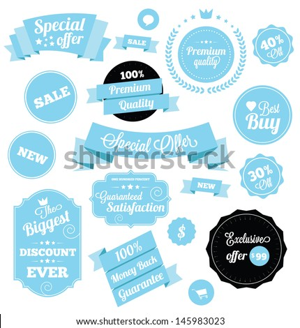 Set of Premium Vector Stickers and Ribbons Blue - stock vector