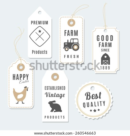 Set of premium vintage farm tags, labels, vector illustration, isolated objects, design elements - stock vector
