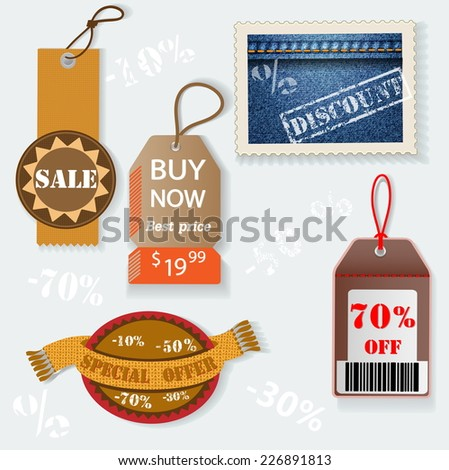 Set of Price for Sale. Vector Illustration EPS10. - stock vector