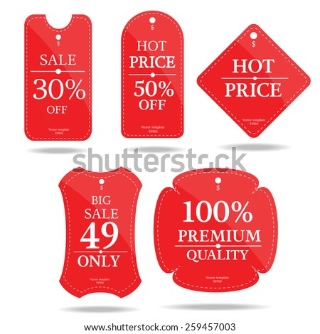 set of price tag banner-vector - stock vector
