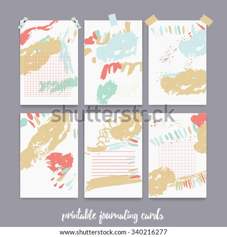 Set  of printable journal cards for scrapbook, planner, diary with ink grunge stains. EPS10 - stock vector