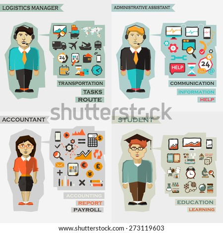Set of professions. Logistics manager, administrative assistance, accountant, student. - stock vector