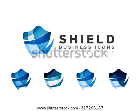 Set of protection shield logo concepts. Color flowing wave design icons on white - stock vector