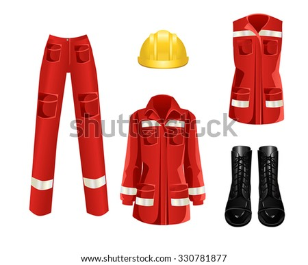 Set of protective wear, shoes and yellow safety helmet on white background - stock vector