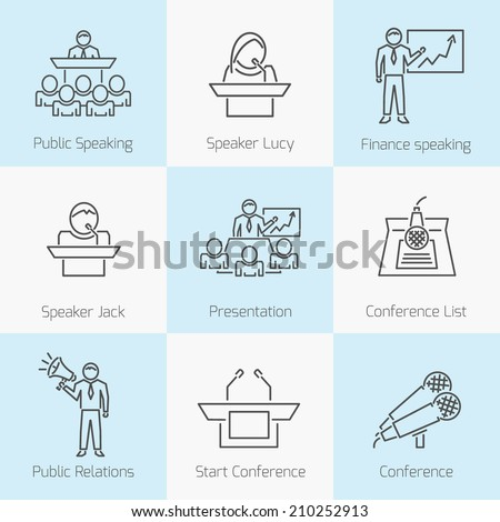 Set of public speaking presentation business conference flat line icons in gray color on squares - stock vector