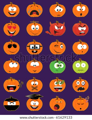 Set of 24 pumpkin-shaped smiley faces - vector illustrations - stock vector