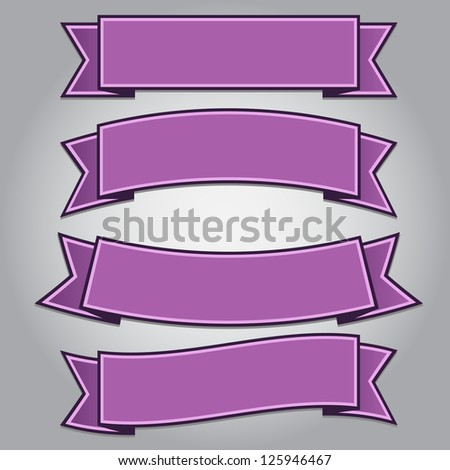 Set of purple ribbon banners isolated,vector illustration - stock vector