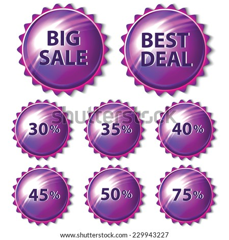 Set of purple stickers on white background. Vector illustration. - stock vector