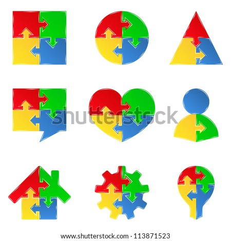 Set of puzzle objects with arrows, design elements for your logo, vector eps10 illustration - stock vector