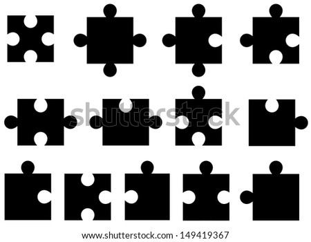 Set of puzzle pieces illustrated on white background - stock vector