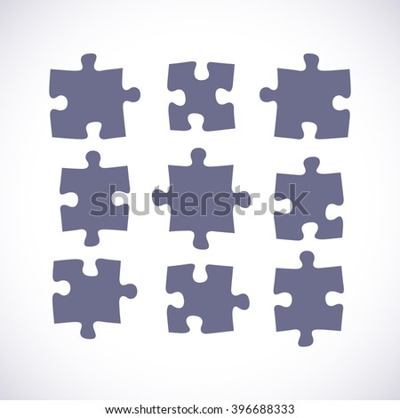 Set of puzzle pieces in a flat design, vector illustration - stock vector