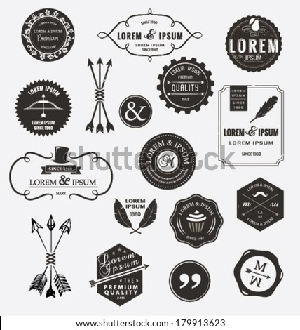SET OF QUALITY DESIGN ELEMENTS. Arrows, labels, ribbons, symbols such as logos. Editable vector illustrator file. - stock vector
