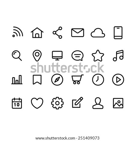 Set of quality icons for web and mobile - stock vector