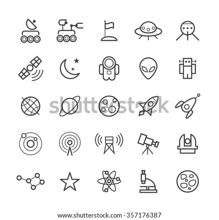 Set of Quality Isolated Universal Standard Minimal Simple Space Black Thin Line Icons on White Background. - stock vector