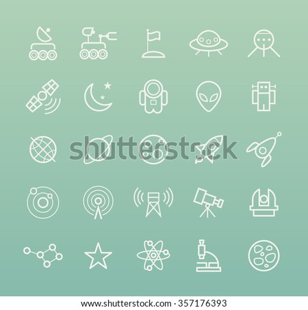 Set of Quality Isolated Universal Standard Minimal Simple Space White Thin Line Icons on Color Background. - stock vector