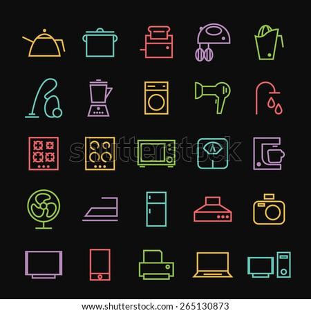 Set of Quality Universal Standard Minimal Simple Colored Neon Home Appliances Thin Line Icons on Black Background. - stock vector