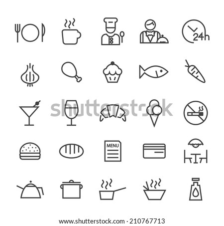 Set of Quality Universal Standard Minimal Simple Restaurant Black Thin Line Icons on White Background. - stock vector