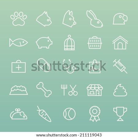 Set of Quality Universal Standard Minimal Simple Veterinary White Thin Line Icons on Color Background. - stock vector