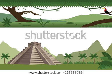 Set of Rain Forest  River and Aztec Pyramid Landscape - stock vector